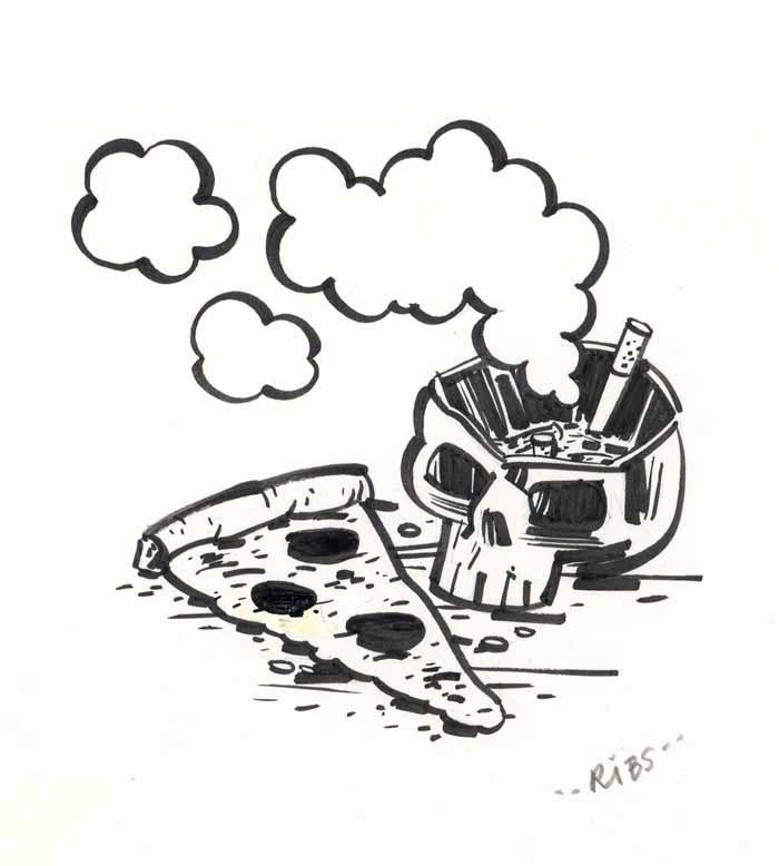 """Pizza/Cigarette/Skull"" is copyright ©2008 by Steven Weissman.  All rights reserved.  Reproduction prohibited."