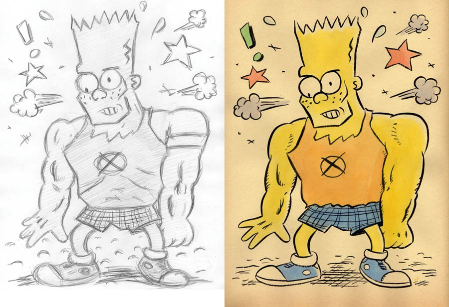 """CARTOON JUMBLE! BART SIMPSON & JIMBO!"" is copyright ©2008 by Jeremy Eaton.  All rights reserved.  Reproduction prohibited."
