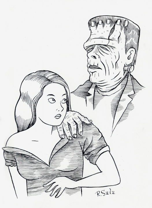 """Frankenstein Monster - Pen and Ink"" is copyright ©2008 by Richard Sala.  All rights reserved.  Reproduction prohibited."