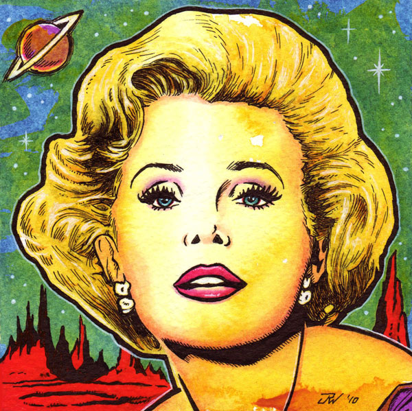 """Queen of Outer Space (Zsa Zsa Gabor)"" is copyright ©2008 by J.R. Williams.  All rights reserved.  Reproduction prohibited."