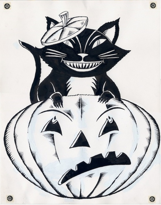 """Black Cat Halloween Decoration Orig. Line Art"" is copyright ©2008 by Richard Sala.  All rights reserved.  Reproduction prohibited."