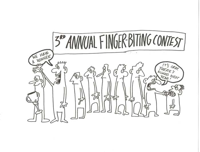 """3rd Annual Finger-biting Contest"" is copyright ©2008 by Sam Henderson.  All rights reserved.  Reproduction prohibited."