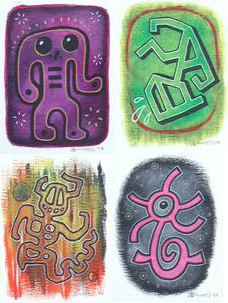 """Four-Up (4 mini-paintings!)"" is copyright ©2008 by J.R. Williams.  All rights reserved.  Reproduction prohibited."