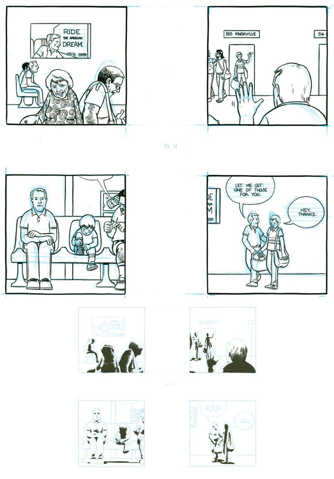 """Return of the Elephant, pages 10 and 11"" is copyright ©2008 by Paul Hornschemeier.  All rights reserved.  Reproduction prohibited."