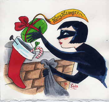 """Cat Burglar Christmas Card Art"" is copyright ©2008 by Richard Sala.  All rights reserved.  Reproduction prohibited."