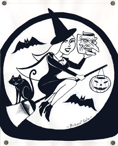 """Cute Halloween Witch Original Art"" is copyright ©2008 by Richard Sala.  All rights reserved.  Reproduction prohibited."