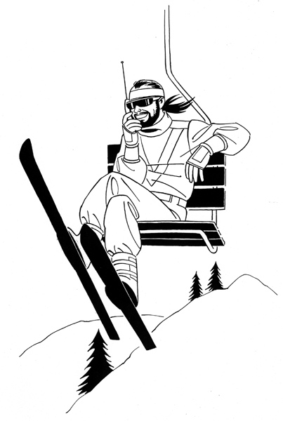 """Groovy Dude Skiing"" is copyright ©2008 by Jaime Hernandez.  All rights reserved.  Reproduction prohibited."