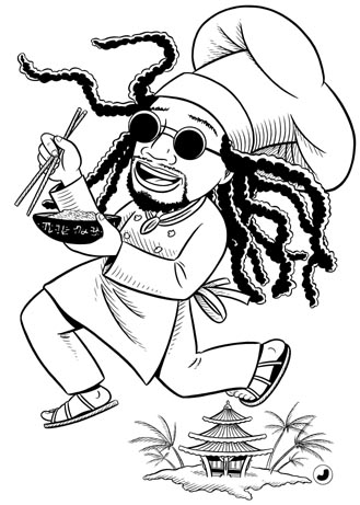 """PASTA RASTA CHEF"" is copyright ©2008 by Jeremy Eaton.  All rights reserved.  Reproduction prohibited."