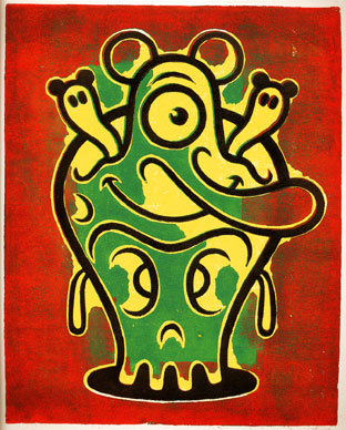 """block print - Happy Skull"" is copyright ©2008 by Dennis Worden.  All rights reserved.  Reproduction prohibited."