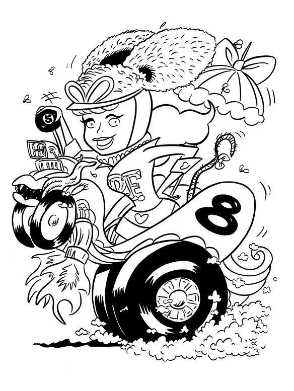 """CARTOON JUMBLE INK ART, RAT FINK & P. PITSTOP!"" is copyright ©2008 by Jeremy Eaton.  All rights reserved.  Reproduction prohibited."