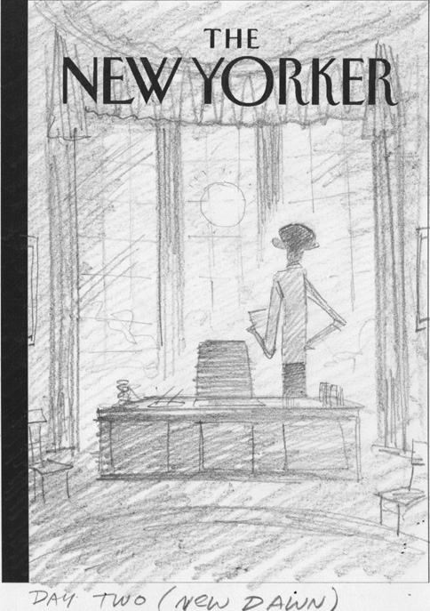 """New Yorker - Obama Wins 2nd Term"" is copyright ©2008 by Bob Staake.  All rights reserved.  Reproduction prohibited."