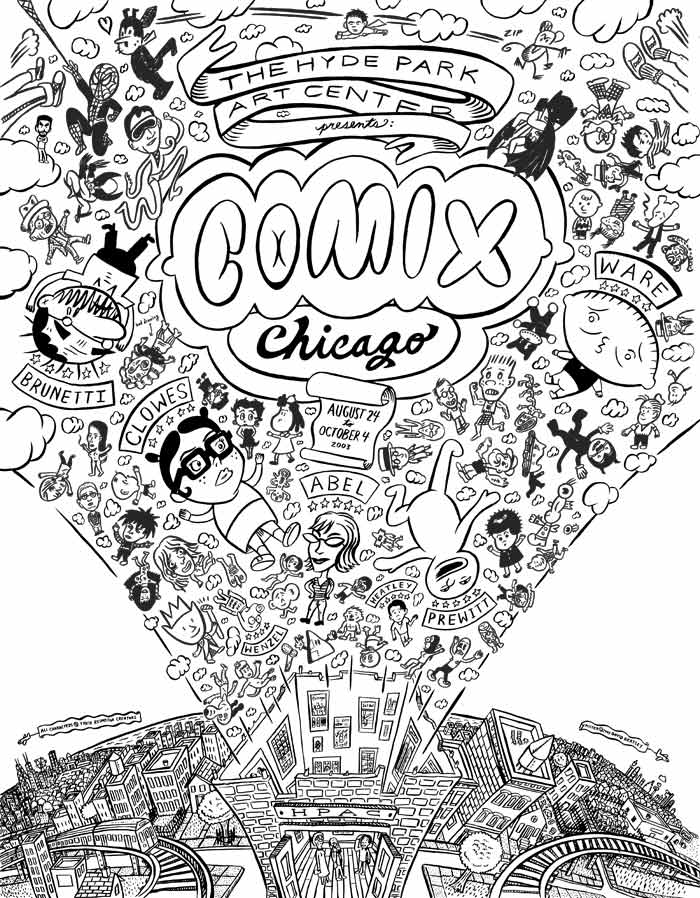 """Comix Chicago poster Line Art"" is copyright ©2008 by David Heatley.  All rights reserved.  Reproduction prohibited."