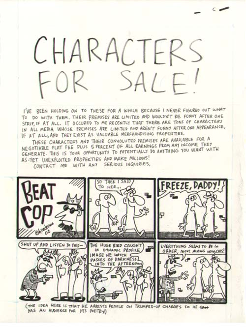"""Characters for sale, page 1"" is copyright ©2008 by Sam Henderson.  All rights reserved.  Reproduction prohibited."