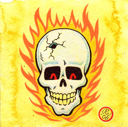 """Flaming Skull"" is copyright ©2008 by J.R. Williams.  All rights reserved.  Reproduction prohibited."