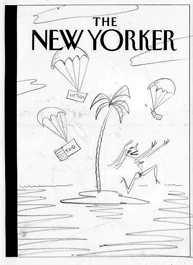 """New Yorker Cover Sketch (Deserted Island)"" is copyright ©2008 by Bob Staake.  All rights reserved.  Reproduction prohibited."