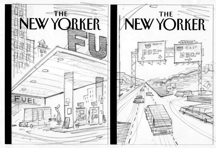 """New Yorker Cover Sketch (FU)"" is copyright ©2008 by Bob Staake.  All rights reserved.  Reproduction prohibited."