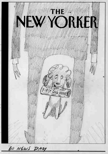 """New Yorker Cover Sketch - (Bo News Day)"" is copyright ©2008 by Bob Staake.  All rights reserved.  Reproduction prohibited."