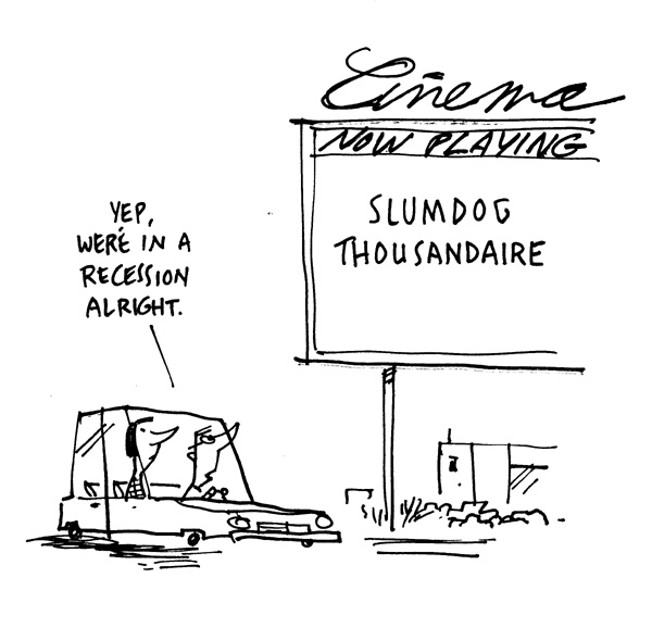 """Cape Cod Chronicle Cartoon - Slumdog"" is copyright ©2008 by Bob Staake.  All rights reserved.  Reproduction prohibited."
