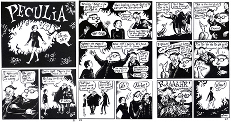 """Peculia - 3-page strip from Evil Eye #10"" is copyright ©2008 by Richard Sala.  All rights reserved.  Reproduction prohibited."