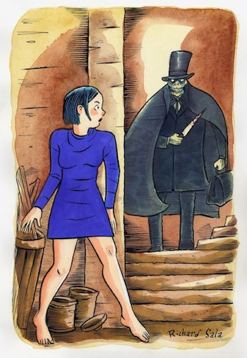 """Peculia Meets Jack The Ripper"" is copyright ©2008 by Richard Sala.  All rights reserved.  Reproduction prohibited."