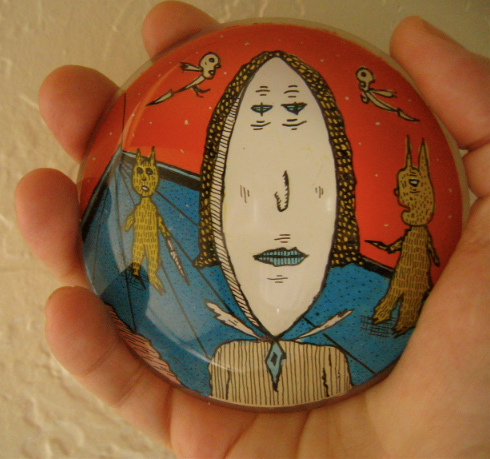 """Hand drawn/painted paperweight"" is copyright ©2008 by Mark Beyer.  All rights reserved.  Reproduction prohibited."