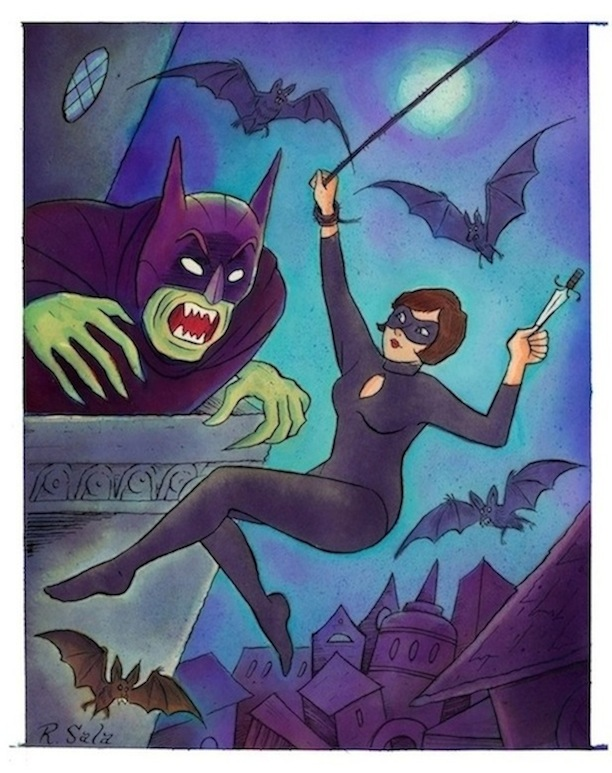 """CAT BURGLAR X - Killing The Bat King"" is copyright ©2008 by Richard Sala.  All rights reserved.  Reproduction prohibited."