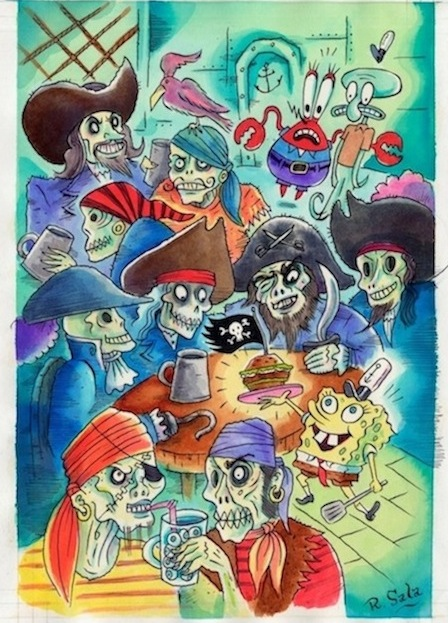 """SpongeBob Comics Full Page Pirate Art"" is copyright ©2008 by Richard Sala.  All rights reserved.  Reproduction prohibited."