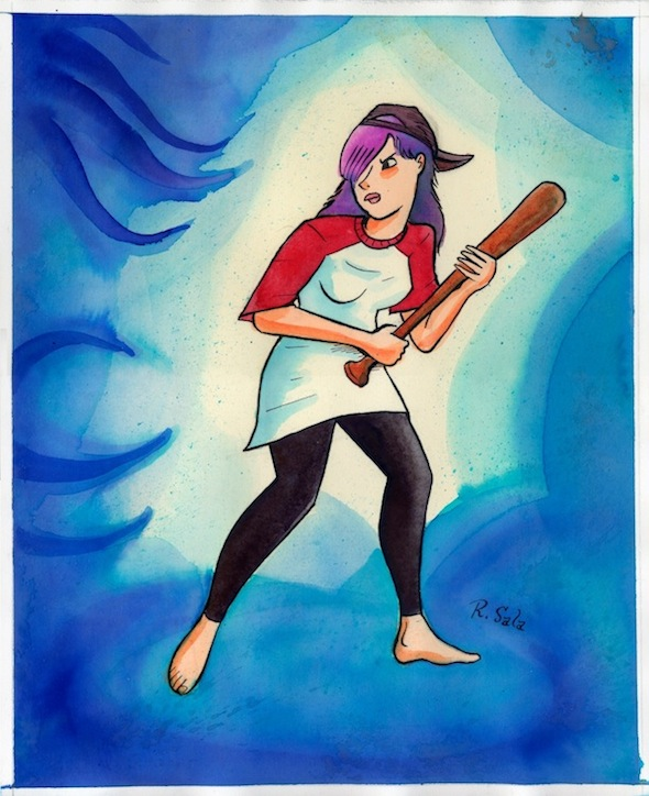 """Violent Girls: Short-tempered Slugger"" is copyright ©2008 by Richard Sala.  All rights reserved.  Reproduction prohibited."