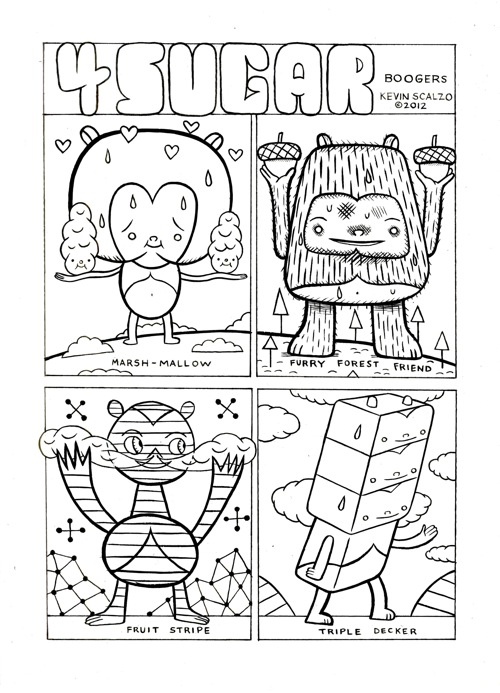 """Four Sugar Boogers comic page"" is copyright ©2008 by Kevin Scalzo.  All rights reserved.  Reproduction prohibited."