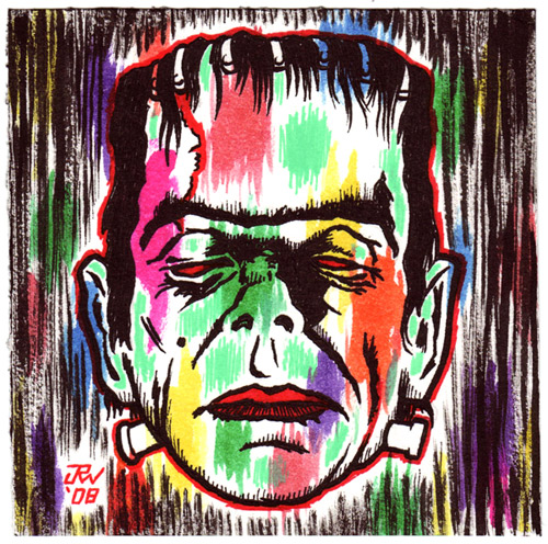 """Rainbow Frankenstein"" is copyright ©2008 by J.R. Williams.  All rights reserved.  Reproduction prohibited."