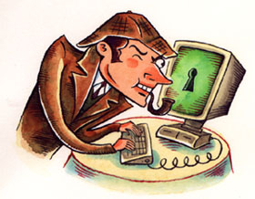 """Watercolor - Computer Sleuth"" is copyright ©2008 by Richard Sala.  All rights reserved.  Reproduction prohibited."