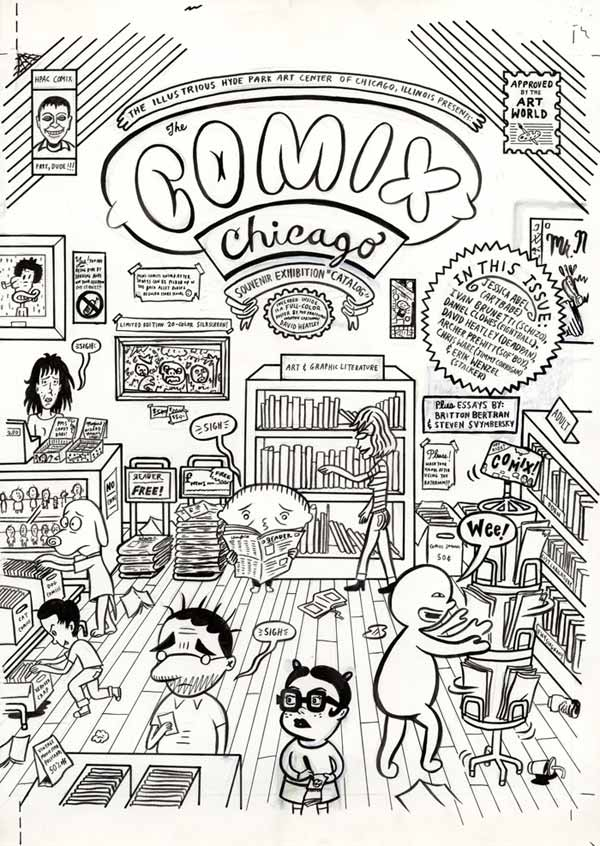 """Comix Chicago Exhibition catalog cover"" is copyright ©2008 by David Heatley.  All rights reserved.  Reproduction prohibited."