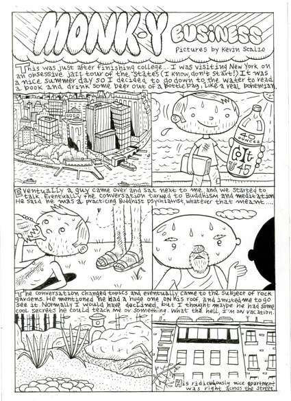 """Monk-y Business comic pg. 1"" is copyright ©2008 by Kevin Scalzo.  All rights reserved.  Reproduction prohibited."