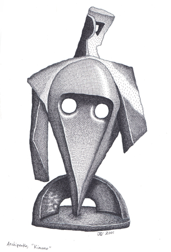 """ARCHIPENKO-framed pen & ink"" is copyright ©2008 by J.R. Williams.  All rights reserved.  Reproduction prohibited."