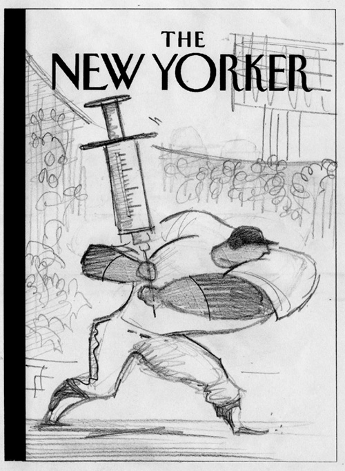 """New Yorker Cover Pencil Sketch 1  (rejected)"" is copyright ©2008 by Bob Staake.  All rights reserved.  Reproduction prohibited."