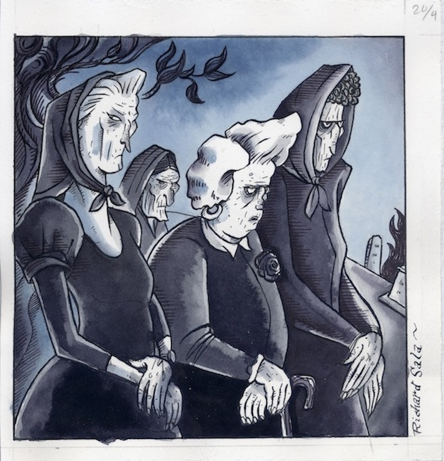 """DELPHINE - Witches! - painted panel from #1"" is copyright ©2008 by Richard Sala.  All rights reserved.  Reproduction prohibited."