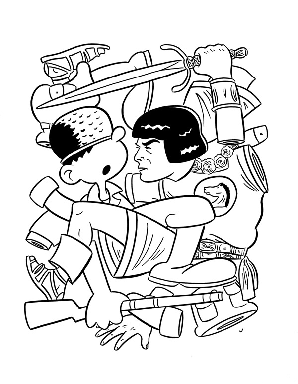 """CARTOON JUMBLE INK ART, B. BAILEY & PRINCE VALIANT"" is copyright ©2008 by Jeremy Eaton.  All rights reserved.  Reproduction prohibited."