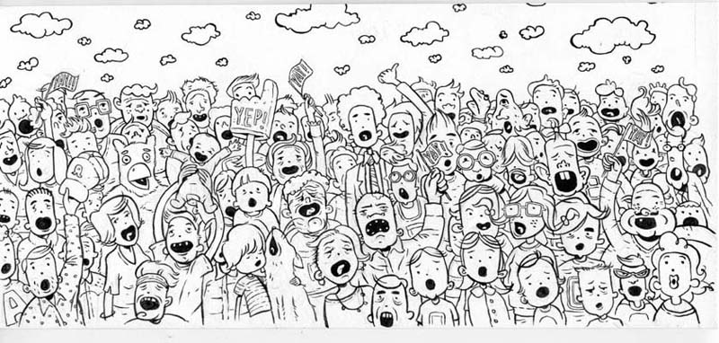 """Crowd scene for Nickelodeon Mag."" is copyright ©2008 by Jordan Crane.  All rights reserved.  Reproduction prohibited."