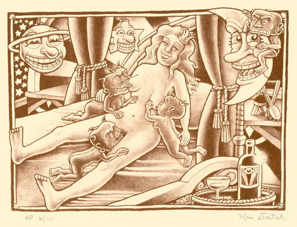 """'Lesbian Sex Scene' lithograph"" is copyright ©2008 by Kim Deitch.  All rights reserved.  Reproduction prohibited."