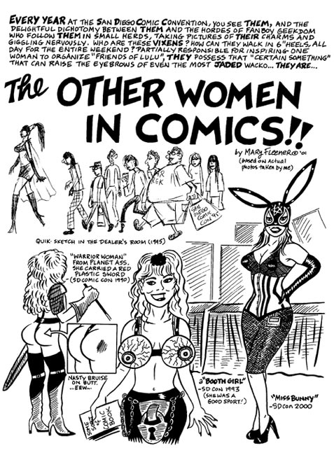 """'The Other Women in Comics' p.1"" is copyright ©2008 by Mary Fleener.  All rights reserved.  Reproduction prohibited."