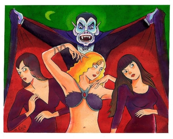 """Dracula's Brides (Green Moon)"" is copyright ©2008 by Richard Sala.  All rights reserved.  Reproduction prohibited."