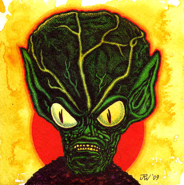 """Saucer Man (Alien)"" is copyright ©2008 by J.R. Williams.  All rights reserved.  Reproduction prohibited."
