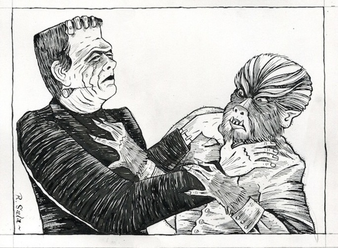 """Frankenstein Meets The Wolfman"" is copyright ©2008 by Richard Sala.  All rights reserved.  Reproduction prohibited."