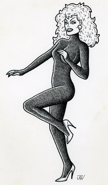 """Catsuit chick!"" is copyright ©2008 by J.R. Williams.  All rights reserved.  Reproduction prohibited."