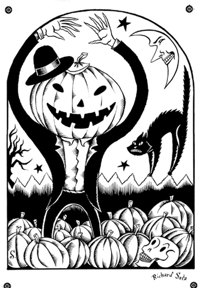 """Jack-O-Lantern Rising - Original"" is copyright ©2008 by Richard Sala.  All rights reserved.  Reproduction prohibited."