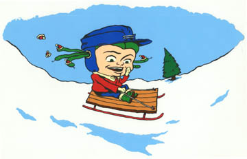 """Kid Medusa on a sled"" is copyright ©2008 by Steven Weissman.  All rights reserved.  Reproduction prohibited."
