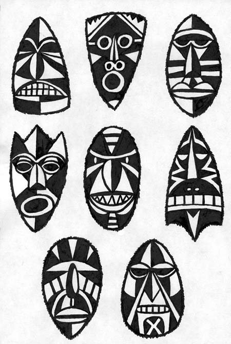 """Primitive Masks"" is copyright ©2008 by J.R. Williams.  All rights reserved.  Reproduction prohibited."