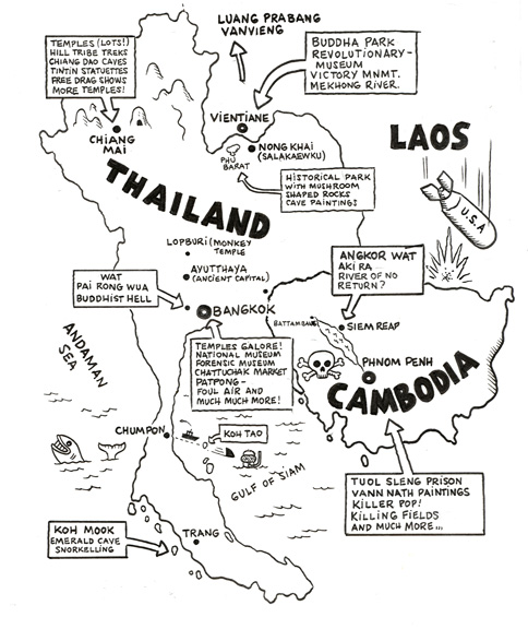 """Hand drawn map of Thailand,Cambodia..."" is copyright ©2008 by  Mats!?.  All rights reserved.  Reproduction prohibited."