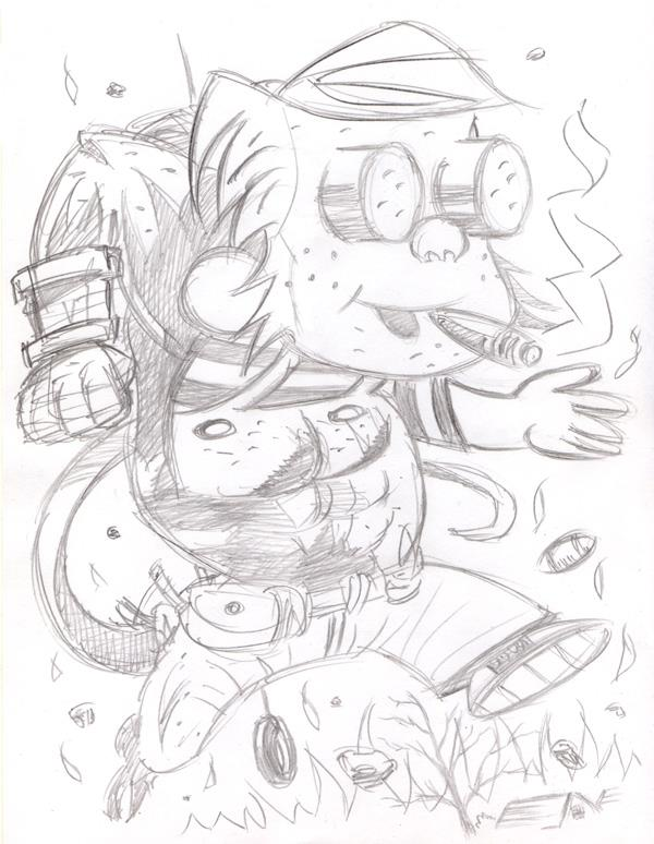 """CARTOON JUMBLE PENCIL - DENNIS TH MENACE & HELLBOY"" is copyright ©2008 by Jeremy Eaton.  All rights reserved.  Reproduction prohibited."