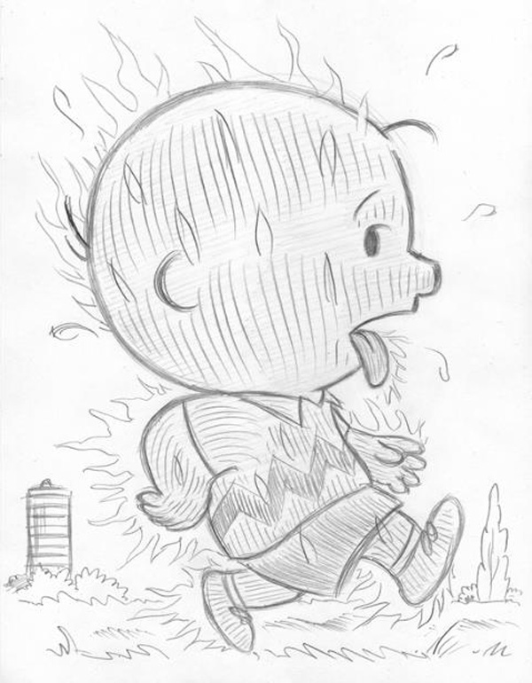 """CARTOON JUMBLE PENCIL -CHARLIE BROWN & H. TORCH"" is copyright ©2008 by Jeremy Eaton.  All rights reserved.  Reproduction prohibited."
